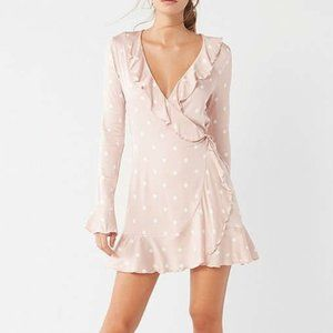Ruffled Pink Wrap Dress   Urban Outfitters